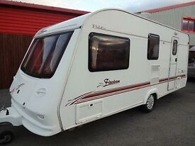 4 Berth Elldiss 524 Touring Caravan with remote control mover, full size awning with 2 zip on pods
