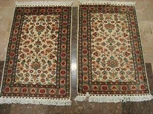 Exclusive Ivory Flowers Medallion Hand Knotted Rug Wool Silk Carpet Pair (3 X 2)'