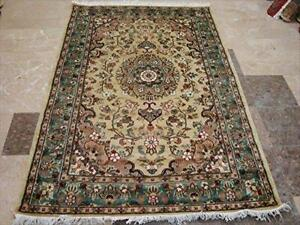 Rectangle Area Rug Cream Ivory Flower Medallion Lovely Hand Knotted Wool Silk Carpet (6 X 4)'