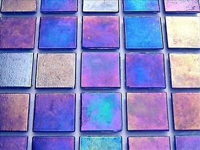 Iridescent Mosaic Tiles Tessera, Tesserae 20mm. 75 Tile Pack, Dark Blue