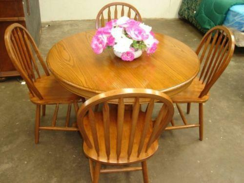 Round Oak Dining Table Ebay