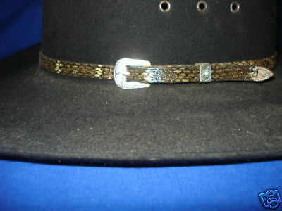 - Rattlesnake Skin 3/8 hatband with 3 piece silver set