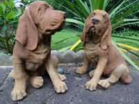 2 Realistic Matching Blood Hound Dog English Stone Antique Style Garden Statues