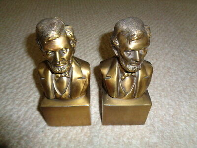 Abraham Lincoln solid brass plated metal bookends suit coat matching pair