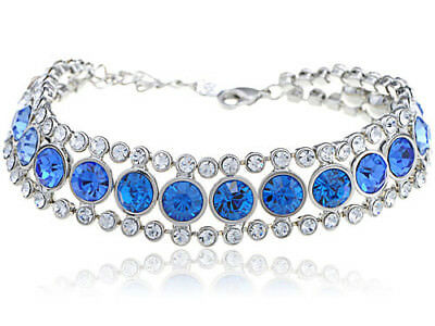 Silver Circular Bracelets - Silver Tone Chain Circular Pattern New Crystal Element Bracelet Bangle