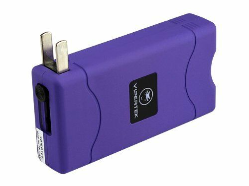 VIPERTEK PURPLE Mini Stun Gun VTS-880 10 BV Rechargeable LED Flashlight