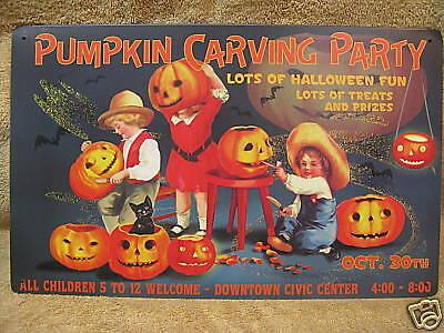 Pumpkin Carving Party Tin Metal Sign HALLOWEEN OCT 30