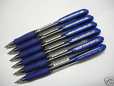 12 X Pilot Super Grip 1.0mm Medium Ballpoint Pen Super Smooth Blue Japan