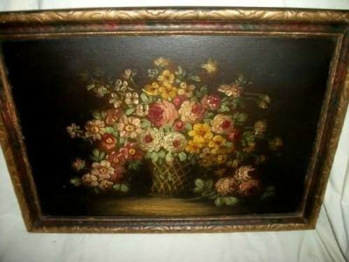 ANTIQUE FLOWER BASKET ROSES OIL PAINTING VICTORIAN EARLY 1900