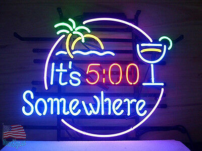"""It's 5 O'clock Somewhere Pub Bar Neon Sign 17""""x14"""" From USA"""
