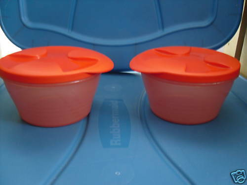 NEW Tupperware Duo BOWL Set of 2 ~Sheer Orange~ Seals Snap together~2-cup /16 oz
