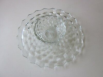 Cubist Depression Glass Clear Crudite Platter and Dip Bowl