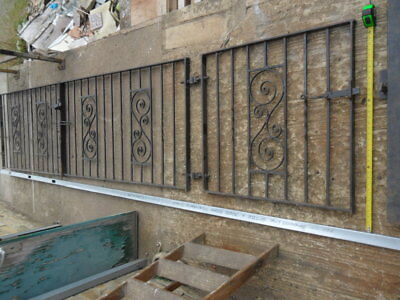 pair + 1 old heavy iron entrance driveway gates 3 garden gates hill fit 15 foot