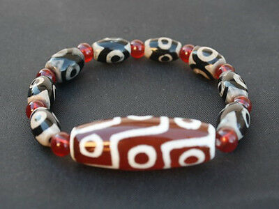 Tibetan 9 3-eye Big 9-eye Agate dZi Beads Beaded Bracelet -Powerful Energy!