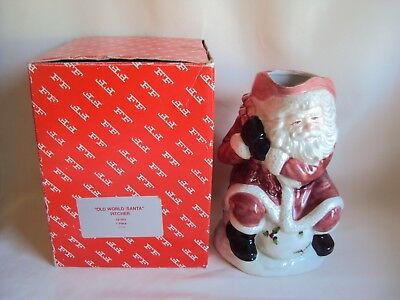 COLLECTIBLE FITZ AND FLOYD CERAMIC OLD WORLD SANTA PITCHER IN BOX