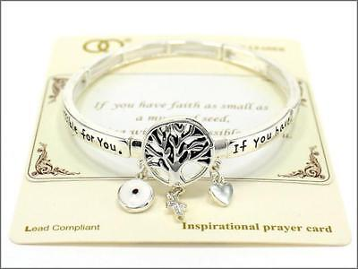 Silver Tone Stretch Bracelet with Tree of Life Inspirational Theme and Charms