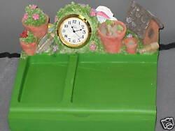 Polystone Garden Memo Pad Clock Bird House Paper Clips