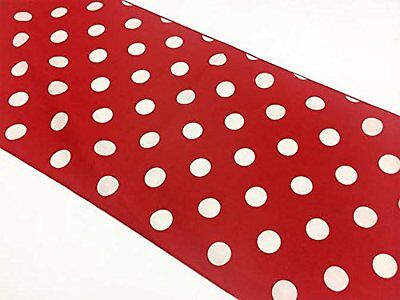 lovemyfabric Poly Cotton White Polka Dots On Red Table Runner 12