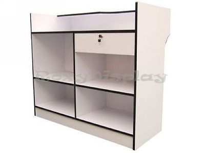 White Ledgetop Counter Showcase Display Store Fixture Knocked Down Ltc4w