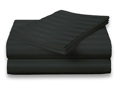 King Size Black 400 Thread Count 100% Cotton Sateen Dobby Stripe Sheet Set