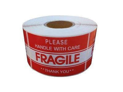 """1 Roll 2"""" x 3"""" FRAGILE HANDLE WITH CARE Stickers (500 Per Roll)"""