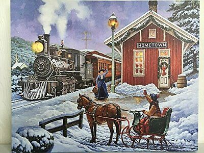 Train Station Picture on Canvas w Led Lights Wall Art Christmas Decor