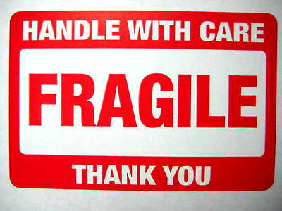 250 2 X 3 Fragile Handle With Care Label Sticker. Plus 15 Green Smiley Stickers.