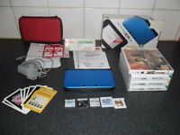 3DS XL CONSOLE BUNDLE WITH ORIGINAL BOX ACCESSORIES,POWER SUPPLY AND 9 GAMES AND CARRY CASE! BARGAIN