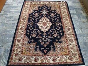 Mid Night Blue Ivory Touch Flowers Rectangle Area Rug Hand Knotted Wool Silk Carpet (6 X 4)'