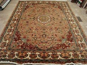 Rectangle Area Rug Medallion Floral Multicolored Hand Knotted Silk Wool Carpet (10 x 7)'