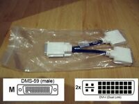 NEW MOLEX 887-6853-00 DMS-59 TO DUAL DVI SPLITTER CABLE