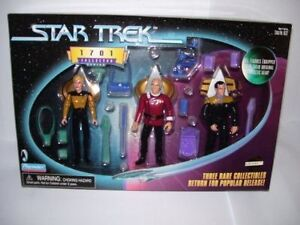 193f9a4f4f1be Playmates Toys Star Trek Tng Next Generation 1701 Rare Set Picard Yar  Barclay Action Figure