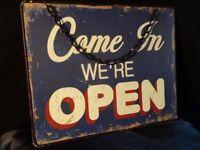 "Metal Shop Sign ""Come In We're Open & Sorry We're Closed"" Wall Door Hanging"