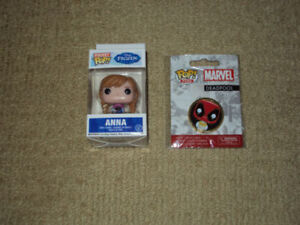FUNKO, ANNA, FROZEN, POCKET POP, VINYL FIGURE & DEADPOOL POP PIN
