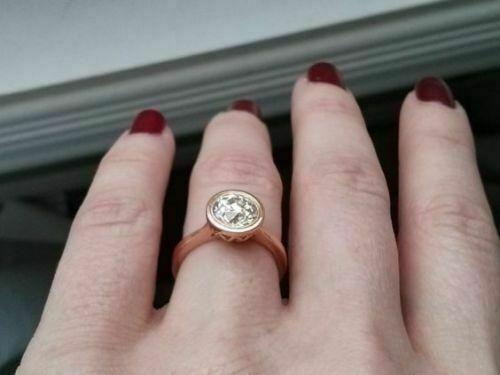 2Ct Bezel Round Cut Moissanite Engagement & Wedding Ring Sol
