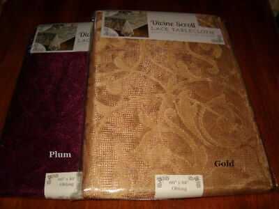Benson Mills Divine Scroll Scalloped Border Lace Tablecloth GOLD or PLUM NEW