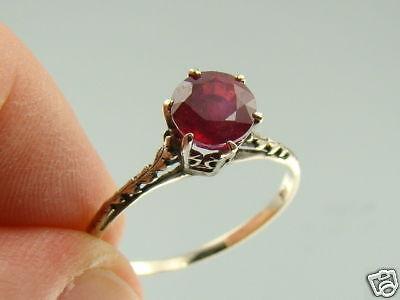 Estate 1 50Ct Natural Ruby 14K White Gold Wedding Ring