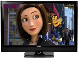 "22"" black LCD tv ideal for kitchen or bedroom has freeview HDMI USB and remote can deliver"
