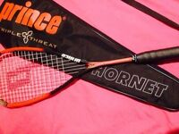 prince extender squash racket, with case, used handful of times