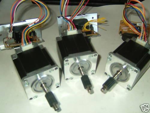 3 x NEMA 23 STEPPER MOTORS & 3 CONTROL ICS -CNC MILL LATHE ROBOT P1V