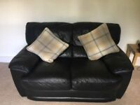 HARVEYS BLACK LEATHER SOFAS 3+2 SEATERS - MUST GO ASAP - CHEAP FAST DELIVERY - £250