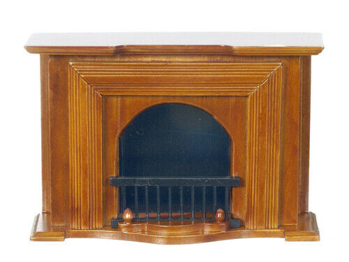 Miniature Dollhouse Walnut Fireplace 1:12 Scale New t6001