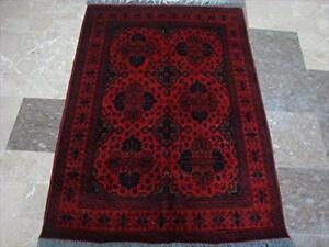 Rectangle Area Rug Afghan Khal Muhamadi Dark Red Wool Hand Knotted Carpet (5 x 3)'