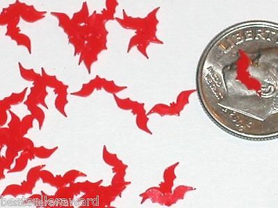 30pc+ Super tiny fairy Magical Halloween RED Bats Wings glitter dust Miniature