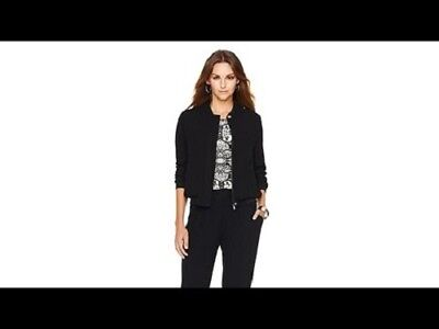 Sz M G By Giuliana Rancic Black Zipper Front Pocket Sheer Overlay Bomber Jacket