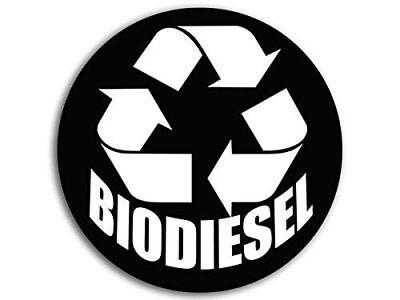 4x4 inch BLACK Round BioDiesel Logo Sticker (Symbol Clean Fuel bio Diesel)