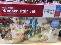 carousel wooden multi track train set rail or road track brand new