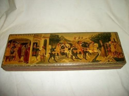ITALIAN FLORENTINE RENAISSANCE WOOD TIE BOX GILT RED LONG VINTAGE MID CENTURY