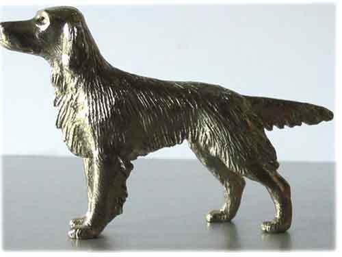Irish or English Setter Nickel Silver Smaller Statue Figurine