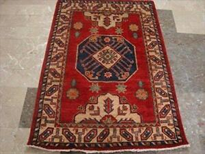 Super Kazak Caucasion Geometric Area Rug Hand Knotted Vegetable Dyed Ghazni Wool Carpet (4.9 x 3.3)'